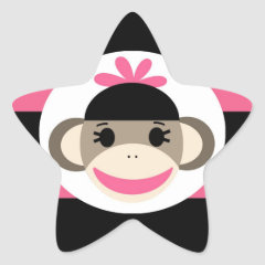 Cute Baby Girl Sock Monkey Black Pink Stripes Star Stickers