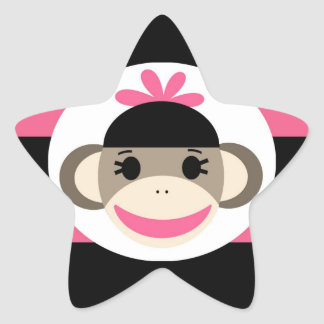 Cute Baby Girl Sock Monkey Black Pink Stripes Star Stickers