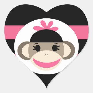 Cute Baby Girl Sock Monkey Black Pink Stripes Stickers