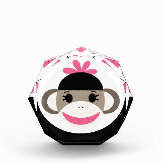 Cute Baby Girl Sock Monkey Pink Black Argyle Acrylic Award