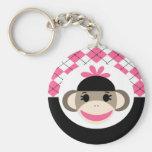 Cute Baby Girl Sock Monkey Pink Black Argyle Basic Round Button Keychain