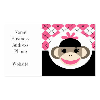 Cute Baby Girl Sock Monkey Pink Black Argyle Double-Sided Standard Business Cards (Pack Of 100)