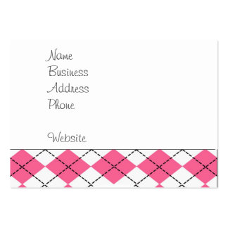 Cute Baby Girl Sock Monkey Pink Black Argyle Large Business Cards (Pack Of 100)