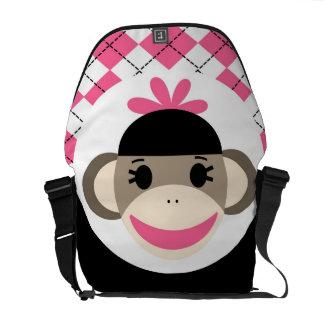 Cute Baby Girl Sock Monkey Pink Black Argyle Courier Bag