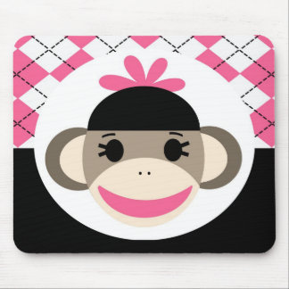 Cute Baby Girl Sock Monkey Pink Black Argyle Mousepads