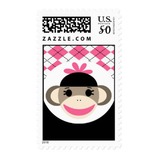 Cute Baby Girl Sock Monkey Pink Black Argyle Postage