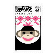 Cute Baby Girl Sock Monkey Pink Black Argyle Postage
