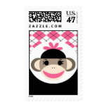 Cute Baby Girl Sock Monkey Pink Black Argyle Postage Stamp