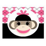 Cute Baby Girl Sock Monkey Pink Black Argyle Postcard