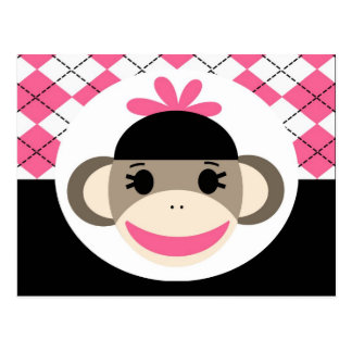 Cute Baby Girl Sock Monkey Pink Black Argyle Postcard