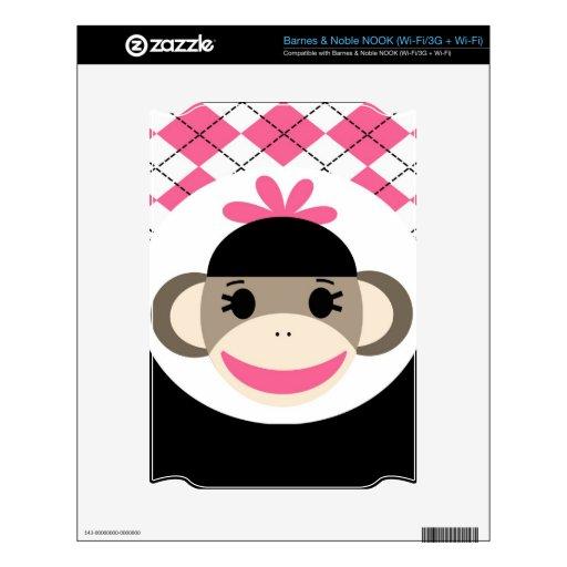 Cute Baby Girl Sock Monkey Pink Black Argyle NOOK Decal
