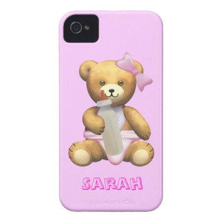 Cute Baby Girl Teddy Bear - Change name - Sarah iPhone 4 Covers