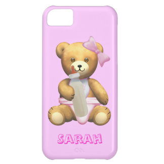 Cute Baby Girl Teddy Bear - Change name - Sarah iPhone 5C Case
