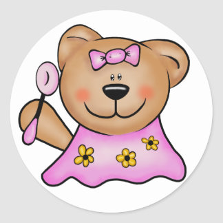 Cute Baby Girl Teddy Bear in Pink Classic Round Sticker