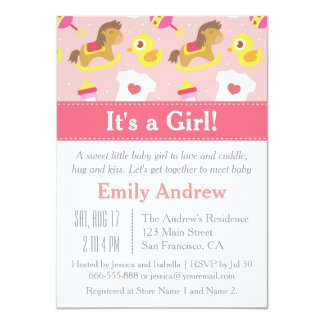 Cute Baby Girl Toys, Baby Shower Party Card
