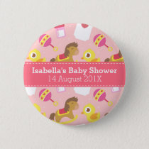 Cute Baby Girl Toys, Baby Shower Party Favor Button