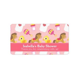 Cute Baby Girl Toys, Baby Shower Party Favor Label Address Label