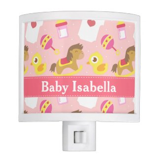 Cute Baby Girl Toys Pattern for Girls Bedroom Night Lite