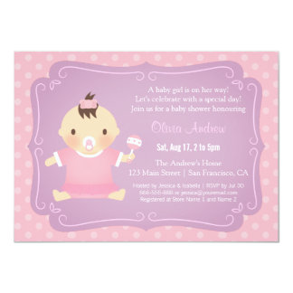 Cute Baby Girl Tutu Baby Shower Invitations
