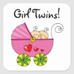 Cute baby girl twins square stickers