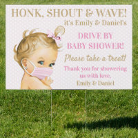 Cute Baby Girl With Face Mask Drive By Baby Shower Sign