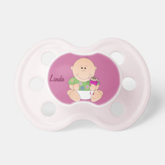 Cute Baby Girl with her doll & Name Pacifuer Pacifier