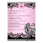 Cute Baby Girl Zebra Lace & Bows Baby Shower Card