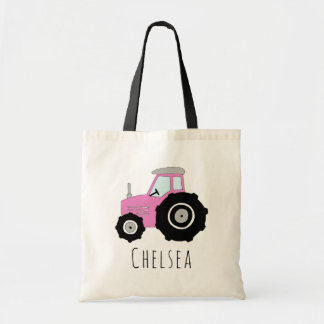 Cute Baby Girl's Pink Farm Tractor and Name Tote Bag