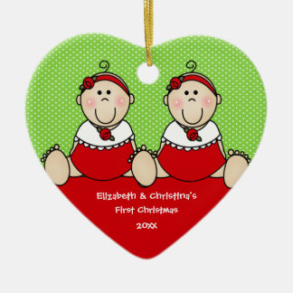 Cute Baby Girls Twin s First Christmas Ornament