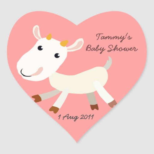 Cute Baby Goat Kid Heart Baby Shower Sticker