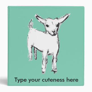 Cute baby goat on a happy customizable binder