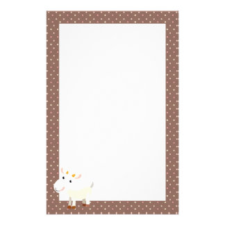 Cute Baby Goat Stationery with Polka Dots