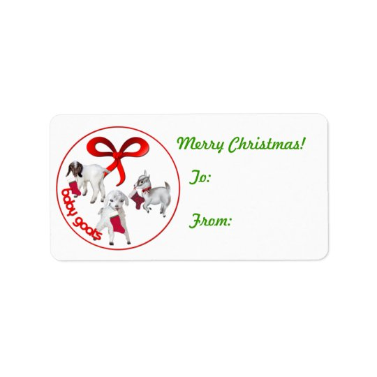 Cute Baby Goats Christmas  Gift Tag Sticker