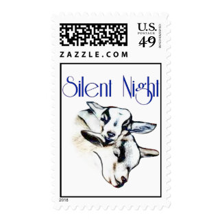 Cute Baby Goats Silent Night  Postage