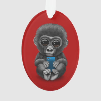 Cute Baby Gorilla Holding a Cell Phone Red