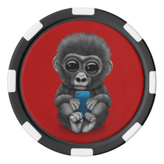 Cute Baby Gorilla Holding a Cell Phone Red Set Of Poker Chips