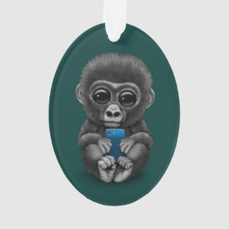 Cute Baby Gorilla Holding a Cell Phone Teal