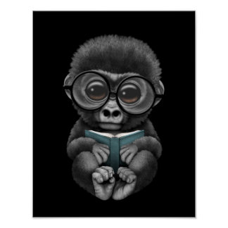 Cute Baby Gorilla Reading a Book on Black Poster