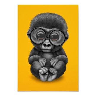 Cute Baby Gorilla Wearing Eye Glasses on Yellow Card