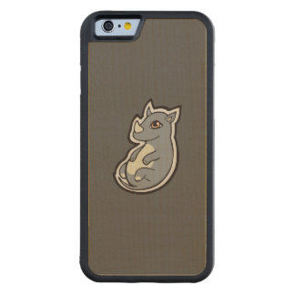 Cute Baby Gray Rhino Big Eyes Ink Drawing Design Carved® Maple iPhone 6 Bumper Case