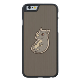 Cute Baby Gray Rhino Big Eyes Ink Drawing Design Carved® Maple iPhone 6 Case