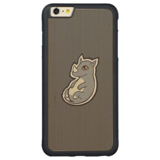 Cute Baby Gray Rhino Big Eyes Ink Drawing Design Carved® Maple iPhone 6 Plus Bumper Case