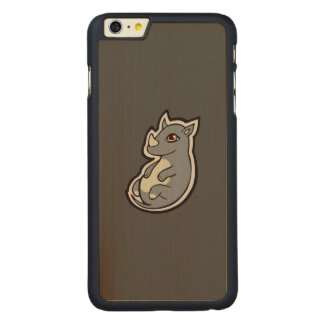 Cute Baby Gray Rhino Big Eyes Ink Drawing Design Carved® Maple iPhone 6 Plus Case
