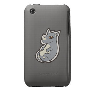 Cute Baby Gray Rhino Big Eyes Ink Drawing Design Case-Mate iPhone 3 Cases