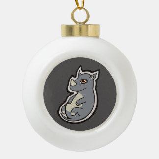 Cute Baby Gray Rhino Big Eyes Ink Drawing Design Ceramic Ball Christmas Ornament