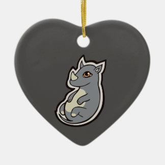 Cute Baby Gray Rhino Big Eyes Ink Drawing Design Ceramic Ornament