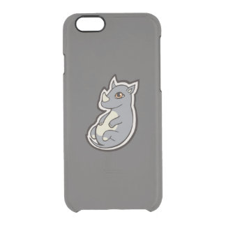 Cute Baby Gray Rhino Big Eyes Ink Drawing Design Clear iPhone 6/6S Case