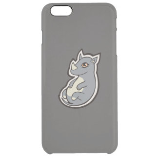 Cute Baby Gray Rhino Big Eyes Ink Drawing Design Clear iPhone 6 Plus Case