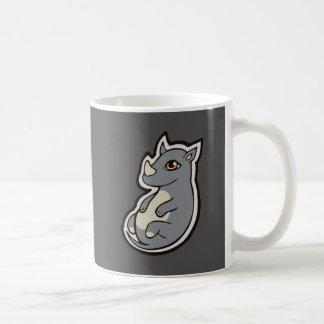 Cute Baby Gray Rhino Big Eyes Ink Drawing Design Coffee Mug