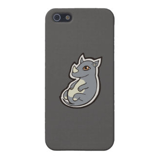 Cute Baby Gray Rhino Big Eyes Ink Drawing Design Cover For iPhone SE/5/5s